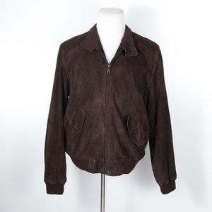 Peter Millar Brown Suede Leather Bomber Jacket